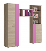 Спальный гарнитур Формула Дуб сонома / Розовый