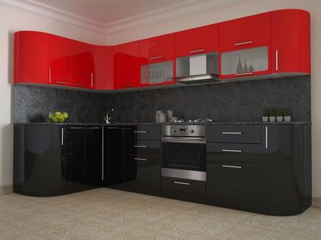 Кухонный гарнитур Черно/красный глянец