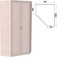 Несимметричный угловой шкаф со штангой и полками 403
