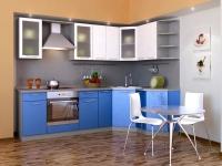 Кухня Фьюжн металлик синий-белый
