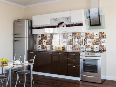 Кухонный гарнитур Кофе глянец с фотопечатью 2 м