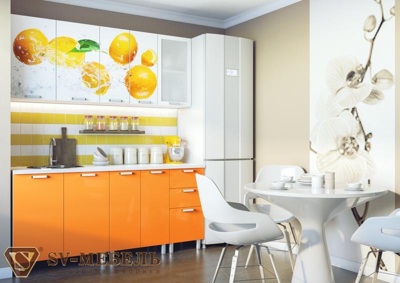 Кухня Апельсины с фотопечатью без глянца