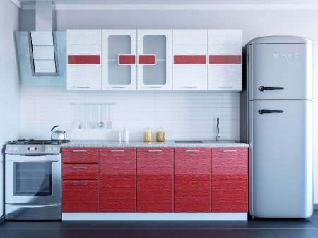 Кухонный гарнитур Гамма (глобусы) красный