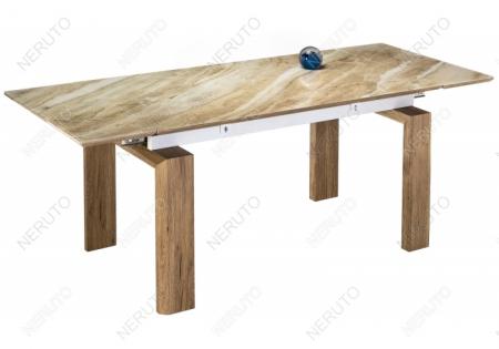 Стеклянный стол Даос бежевый мрамор / дуб монтана